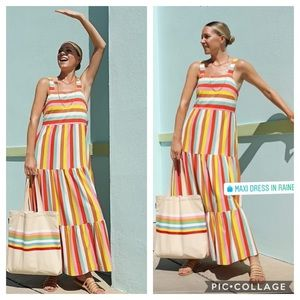 NWT J. Crew Maxi Dress in Rainbow Stripe